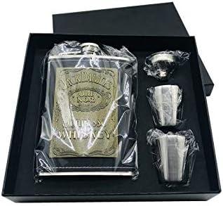 Petacas Chaqueta de cuero de la PU Wrap jarra de acero inoxidable de alcohol Vodka cadera embudo frasco Regalo Negro Box Set whisky Petaca Acero Inoxidable (Color : 8oz set)