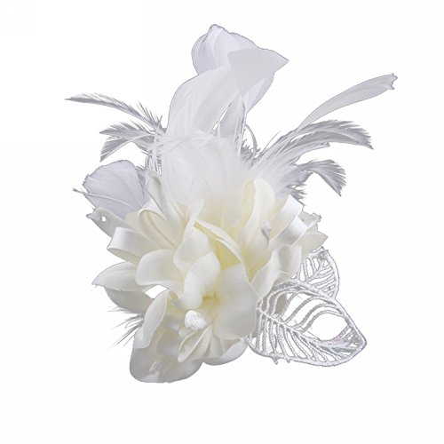 Brooch Feather - Song Fascinator Feather Flower Hair Clip Pin Brooch Corsage Bridal Hairband Party Wedding for Women (White)