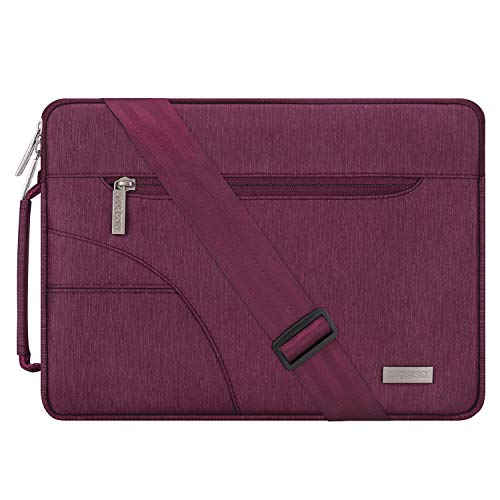 MOSISO Laptop Shoulder Bag Compatible 15-15.6 Inch MacBook Pro, Ultrabook Netbook Tablet, Polyester Ultraportable Protective Briefcase Carrying Handbag Sleeve Case Cover, Wine Red