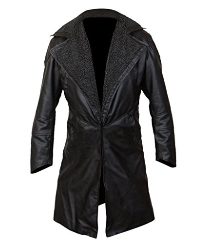 F&H Men's Blade Runner 2049 Faux Fur Lined Open Front Coat Black