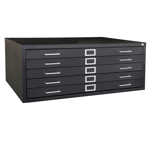 Sandusky Lee 244876BK Black Steel 5 Drawer Flat File, 16-1/8
