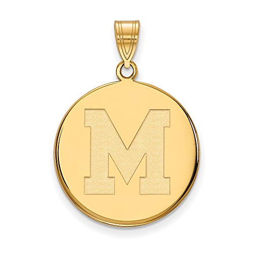Memphis Large (3/4 Inch) Disc Pendant (10k Yellow Gold) by LogoArt