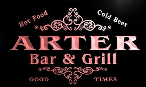 u01408-r ARTER Family Name Bar & Grill Cold Beer Neon Light (Arter Neon Signs)