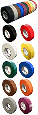 """10 Pack: Morris Products General Purpose Electrical Tape, 10 Colors, each 3/4"""" x 60ft x 7mil Comparable to 3M 1700 & 1400 Includes Black, Red, White, Yellow, Green, Blue & More Over $50 Value"""