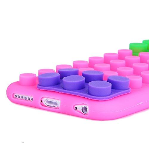 Protege tu iPhone, Caja de silicona de textura de bloque para iPhone 6 Plus & 6SPlus Para el teléfono celular de Iphone. ( Color : Naranja ) Magenta