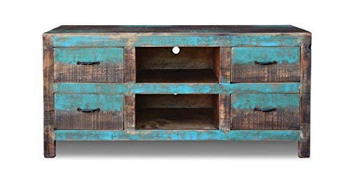 Crafters & Weavers Rustic Distressed Solid Wood Tv Stand Entertainment Console