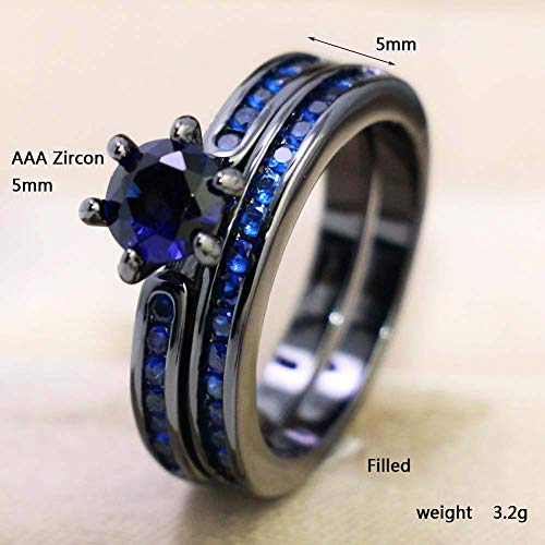 b74ce69d62 LOVERSRING Couple Ring Bridal Set His Hers Black Gold Plated Blue Agate Stainless  Steel Wedding Ring Band ...