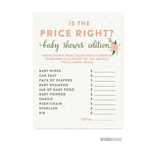 Andaz Press Floral Roses Girl Baby Shower Collection, Games, Activities, Decorations, Is the Price Right? Game Cards, 20-pack
