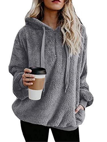 (Famulily Women's Long Sleeve Hooded Fleece Sweatshirt Warm Fuzzy Zip Up Hoodie Pullover Grey S)