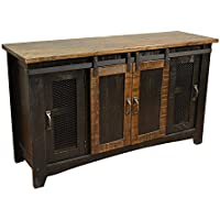 Crafters and Weavers Granville Black 70 TV Stand / Sideboard / Console Table with Sliding Doors