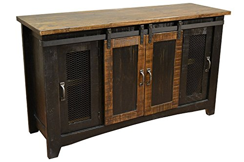 Crafters and Weavers Granville Black 70' TV Stand / Sideboard / Console Table with Sliding Doors