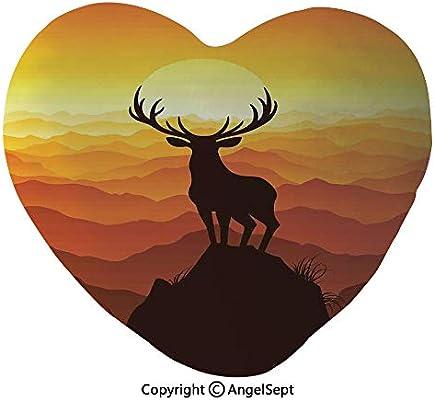 Amazon com: Heart Shape Cushion Pillow Deer at Sunset