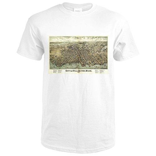 Lantern Press Fall River, Massachusetts - (1877) - Panoramic Map (Premium White T-Shirt - Massachusetts 1877 Map