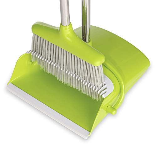 BristleComb Broom and Dustpan Set - Variable Handle Length Broom and Dustpan - Includes: Hand Brush and Dustpan Combo - Lightweight and Upright Stand for Cleaning Your Kitchen, Home, and Lobby (Green) by JFB Home Products (Image #2)