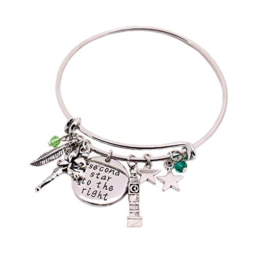 Tinkerbell Charm Bracelet - Peter Pan Message Expandable Silver Bracelet Bangle Second Star to The Right Pendant Tinkerbell Neverland Tower Leaf Stars Charms Bracelet for Kids