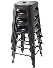 Amazon Basics Metal Bar Stools - 24-Inch, Set of 4, Black