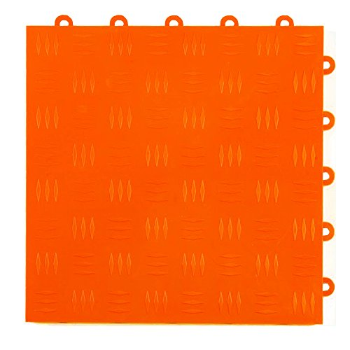 Greatmats Garage Floor Tile Diamond Top 1 ft x 1 ft 24 Pack Orange 10 X 24 Coin Pattern