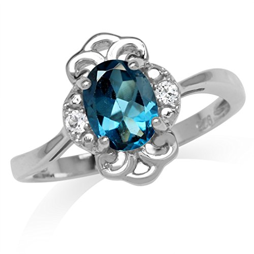 - 1.5ct. Genuine London Blue Topaz White Gold Plated 925 Sterling Silver Filigree Ring Size 6