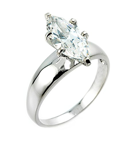 (CZ Engagement Rings 10k White Gold Six-Prong Solitaire Marquise (8))