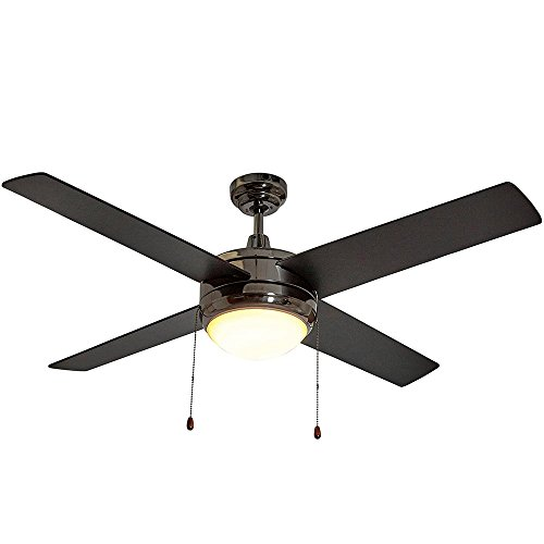Black Ceiling Fan with Light - Contemporary Modern Gun Metal Black Finish Fan with LED Light 4 Blades 50