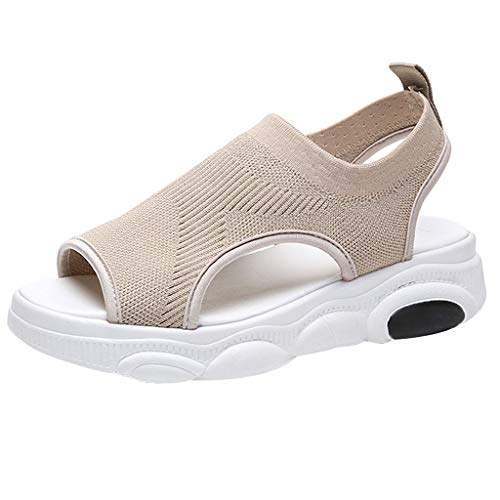 YKARITIANNA Women's Sandals Summer Fish Mouth Muffin Sandals Thick Bottom Open Toe Shoes 2019 Summer Khaki (Best Fertility Monitor 2019)