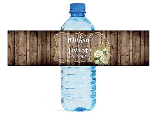 White & Gold Floral Frame on Rustic Wood Water Bottle Labels Great for Birthday Party Wedding engagment Sweet 16