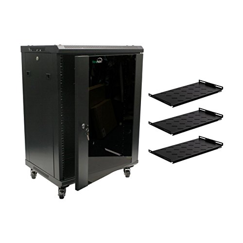NavePoint 15U Wall Mount Network Server Cabinet Rack Glass Door Lock w/Casters and Shelves