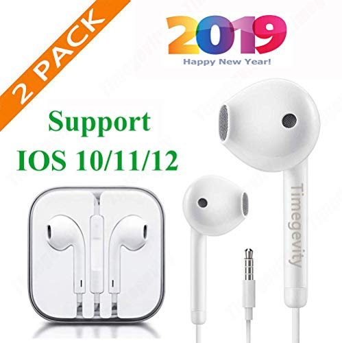 Timegevity Headphones/Earphones/Earbuds,3.5mm aux Wired Headphones Noise Isolating Earphones Built-in Microphone & Volume Control Compatible iPhone iPod iPad Samsung/Android/MP3 MP4 (2PACK)(White)