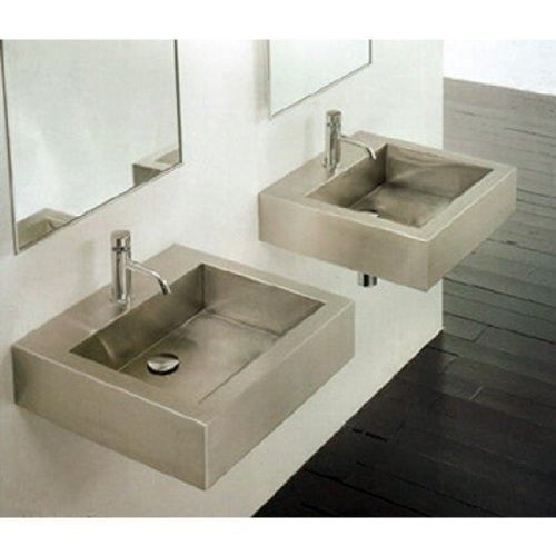 Cantrio Koncepts MS-005 Stainless Steel Square Vessel Bathroom Sink