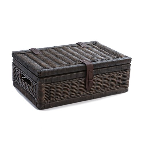 The Basket Lady Covered Wicker Storage Basket, Small, Antique Walnut Brown (Baskets Brown Rattan)