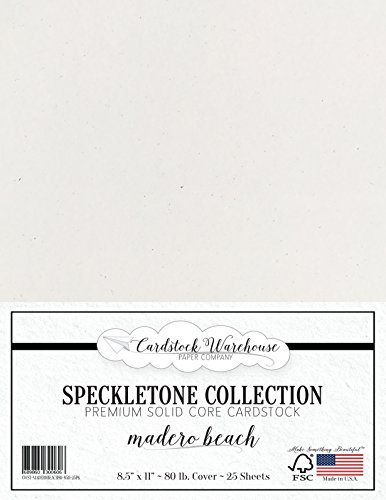 Madero Beach White SPECKLETONE Recycled Cardstock Paper - 8.5 x 11 inch - Premium 80 LB. Cover - 25 Sheets