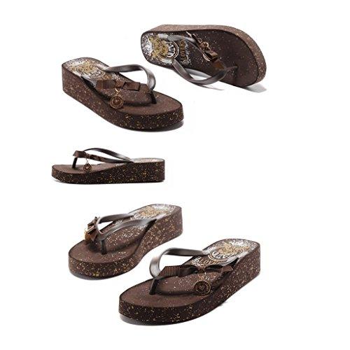dicken Sandalen mit Sommermode Weibliche Braun Hausschuhe Version Farbe 232mm Freizeit der 35 ORANGE Größe Sohlen T4I0BWwq