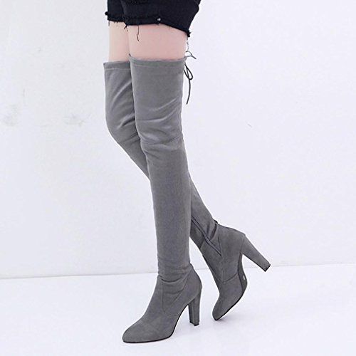 Boots Slim Cotton Shoes High Faux Women Stretch High wuayi Gray Boots Heels Over Knee The qwFRtXHc