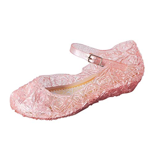 ON Princess Girls Queen Dress Up Cosplay Jelly Shoes for Kids Toddler Dance Party Sandals Mary Janes Pink