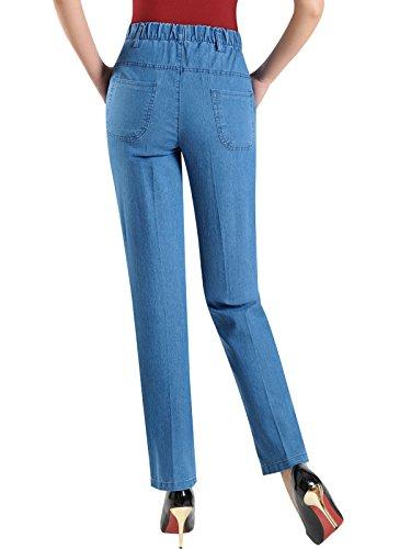 2 Jean Pantalon Clair Denim elastique Femmes Taille Bigassets t Style droit Bleu XCqYzwXF