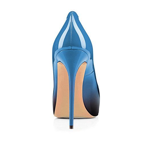 Fsj Women Graceful Peep Toe Pumps Tacchi Alti Con Plateau Slip On Party Prom Shoes Taglia 4-15 Us Sky Blue-gradient