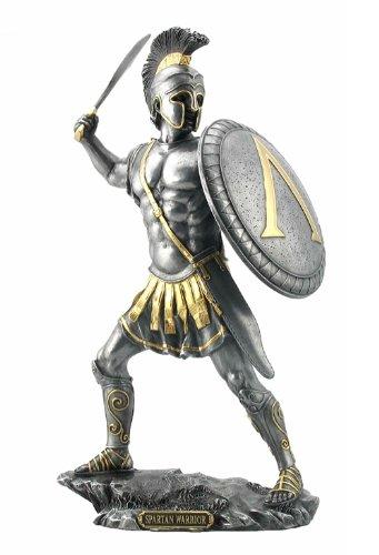 13.25 Inch Spartan Warrior with Sword and Hoplite Shield, (Spartan Shield Design)