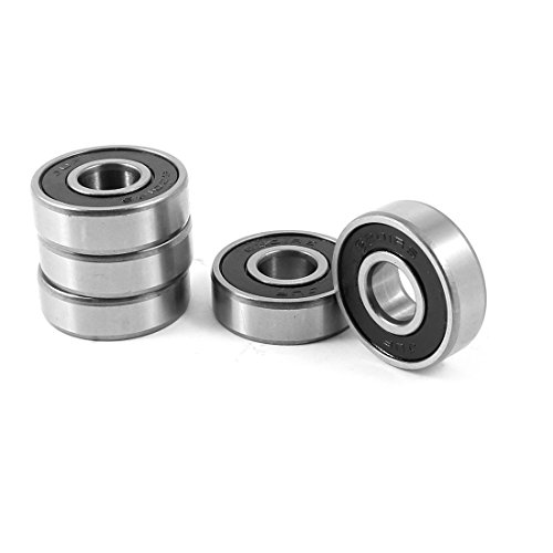 uxcell 12mm x 32mm x 10mm Sealed Deep Groove Ball Bearing 6201RS 5 Pcs w Case