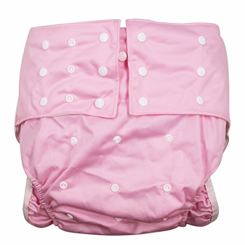 LukLoy Women's Adults Cloth Diapers for Incontinence Care Protective Underwear -Dual Opening Pocket Washable Adjustable Reusable Leakfree for Waist Large Size 65~135cm (Pink)