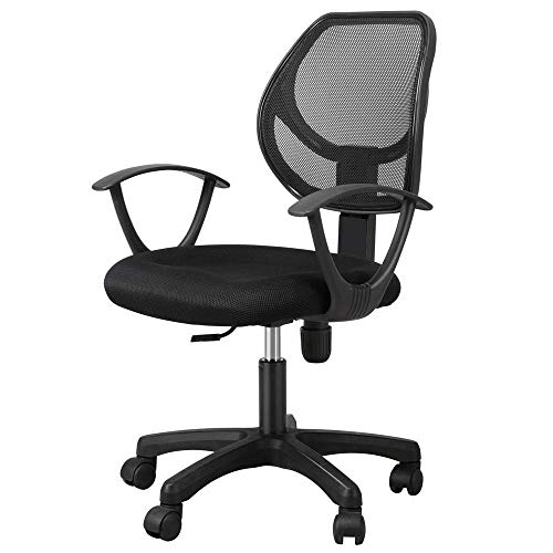 Yaheetech Desk Chiar Office Chair Ergonomic Mid-Back Mesh Computer Chair Height Adjustable with Armrest Swivel Office Chair Lumbar Support Swivel Chair (Black)