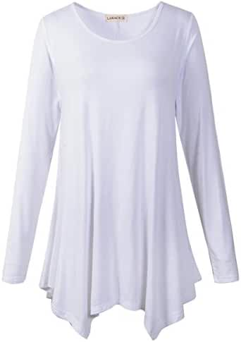 LARACE Womens Long Sleeve Flattering Comfy Tunic Loose Fit Flowy Top