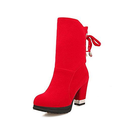 AllhqFashion Mujeres Tacón Alto Sólido Puntera Redonda Esmerilado Cordones Botas Rojo