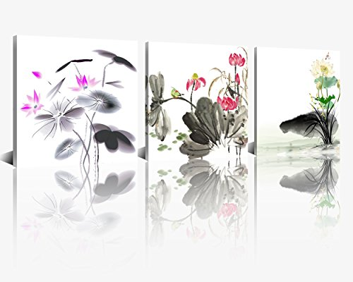 NAN Wind Small Size Traditional Chinese Painting of Lotus Flowers Decor Canvas Prints 3 Pcs Watercolor Blossom Wall Art 12x12inches 3pcs/set Stretched and Framed Ready to Hang for Home - Lotus Art Chinese Flower