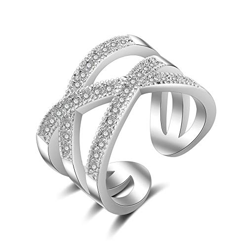 (SISIBER Vogue Braid Setting Micro Cubic Zirconia 925 Sterling Silver Opening Finger Rings Woman Girls Festival)