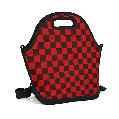 XIAORD SONDESA Work School Picnic Travel Outdoor Resuable Insulated Personalized Neoprene Lunch Tote Bag for Adult Kids Lightweight Red Checkerboard Paper Food Savers Box with Shoulder Strap ()