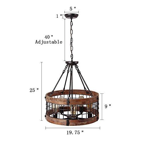 Anmytek Round Wooden Chandelier Metal Pendant Five Lights Decorative Lighting Fixture Antique Ceiling Lamp (Five Lights) by Anmytek (Image #1)
