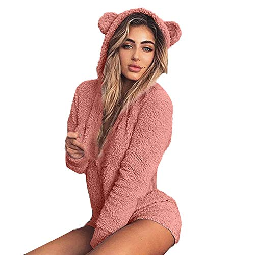 Price comparison product image Zainafacai Cute Rompers-Adult Ladies Girls Pajamas Sportswear Hooded Jumpsuit 2018 (Hot Pink, S)