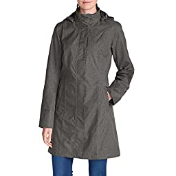 Eddie Bauer Women\'s Girl on the Go Trench Coat, Dk Charcoal Htr XL Petite