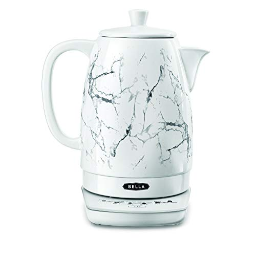 BELLA (14762) 1.8 Liter Temperature Control Electric Ceramic Kettle with Digital Touch Interface, Automatic Shut Off & Detatchable Swivel Base, White Marble (Control Ceramic)