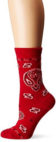 - K. Bell Socks Women's Bandana Crew, Red, Shoe Size 4-10